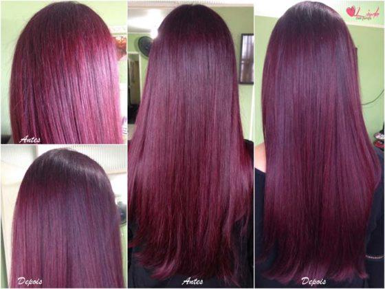 Antes e depois do corte bordado