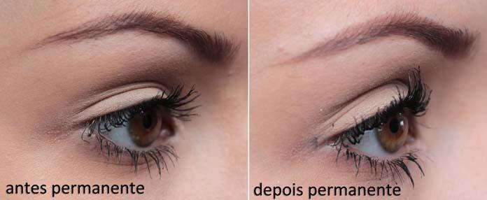 permanente de cílios antes e depois