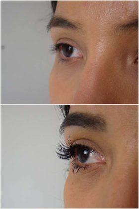 alongamento de cílios antes e depois