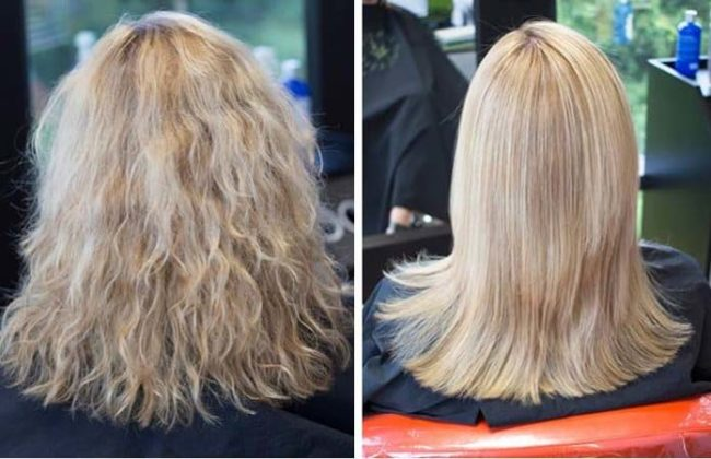 Antes e depois de fazer reconstrução capilar