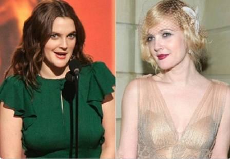 Drew Barrymore antes e depois da redução de mama